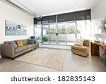 living room with sliding glass... | Shutterstock . vector #182835143