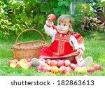 little girl in the russian... | Shutterstock . vector #182863613