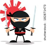 Angry Ninja Warrior Cartoon Mascot Character With Two Katana.Flat Design. Vector Illustration Isolated on white