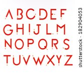 red pencil alphabet | Shutterstock . vector #182904053