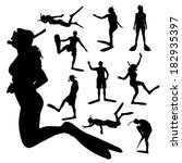 Vector Silhouette Of A People...