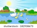 duck family cartoon swimming | Shutterstock . vector #182938673
