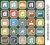 real estate flat icons on green ... | Shutterstock .eps vector #182971727
