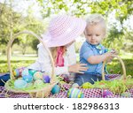 cute young brother and sister... | Shutterstock . vector #182986313