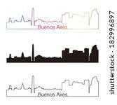 buenos aires skyline linear... | Shutterstock .eps vector #182996897
