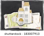 paper drawn house and money on... | Shutterstock . vector #183007913
