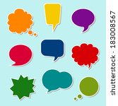 set of nine colorful speech... | Shutterstock .eps vector #183008567