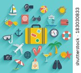 Flat icons set with long shadow effect of traveling on airplane, planning a summer vacation, tourism and journey objects and passenger luggage. Eps10 | Shutterstock vector #183030833