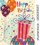 beautiful happy birthday... | Shutterstock .eps vector #183035057