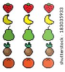 pixel fruit icon set | Shutterstock .eps vector #183035933
