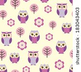 seamless owls and flowers... | Shutterstock .eps vector #183043403