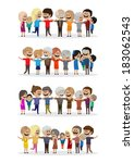 happy peoples   isolated on... | Shutterstock .eps vector #183062543