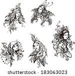 exquisite fantasy girls. set of ... | Shutterstock .eps vector #183063023