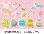 Set Of Easter Stickers  Eggs ...