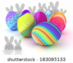 easter bunnies and colorful... | Shutterstock . vector #183085133