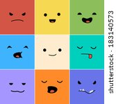 cartoon faces with emotions v.1 | Shutterstock .eps vector #183140573