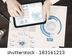 close up of business documents... | Shutterstock . vector #183161213