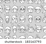 comical expressions background  | Shutterstock . vector #183163793