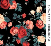 Seamless floral pattern with of red and orange roses on black background. Vector illustration. - stock vector