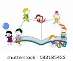 kids and book | Shutterstock .eps vector #183185423
