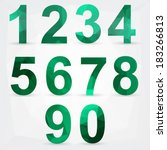 geometric green numbers. vector ... | Shutterstock .eps vector #183266813