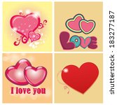 some hearts with borders and... | Shutterstock .eps vector #183277187