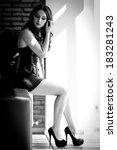 woman sexy black white photo | Shutterstock . vector #183281243