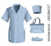 woman medical blue uniform... | Shutterstock .eps vector #183286217