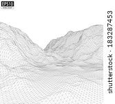 3d wireframe mountain with... | Shutterstock .eps vector #183287453