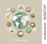Eco concept. Globe with earth, nature, green, recycling, bicycle, car and home icon. Vector illustration