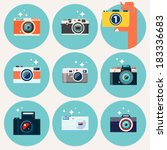 photo camera icons set in flat...