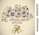 Vintage Floral Card With Birds...