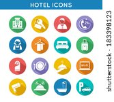 Hotel travel accommodation color icons set of restaurant food towel and bed isolated vector illustration