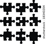 blank puzzle pieces  image... | Shutterstock .eps vector #18340204