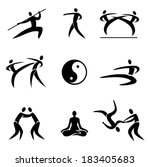 Asian Martial Arts icons Simple Sport Pictogram  Asian Martial Arts Icons. Vector illustration.
