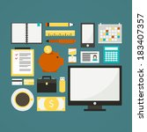 freelance vector objects made... | Shutterstock .eps vector #183407357
