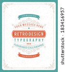 retro typographic design... | Shutterstock .eps vector #183416957