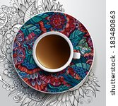 vector illustration with a cup... | Shutterstock .eps vector #183480863
