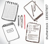 books with pen and pencil.... | Shutterstock .eps vector #183507857