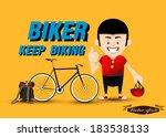graphic design vector of biker... | Shutterstock .eps vector #183538133