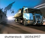 truck driven by fuel on the... | Shutterstock . vector #183563957