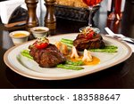 beef steak and shrimp with... | Shutterstock . vector #183588647