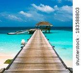 beautiful beach with water...   Shutterstock . vector #183588803