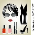 fashion set from a female ... | Shutterstock . vector #183596537