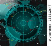 blue radar screen over square...   Shutterstock .eps vector #183612647