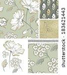 summer floral seamless patterns ...   Shutterstock .eps vector #183621443