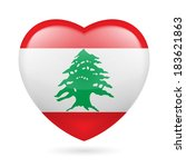 Heart with Lebanese flag colors. I love Lebanon