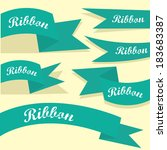 set of retro turquoise ribbons... | Shutterstock .eps vector #183683387