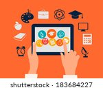 e learning concept. hands... | Shutterstock .eps vector #183684227