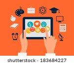 e learning concept. hands... | Shutterstock .eps vector #183684227